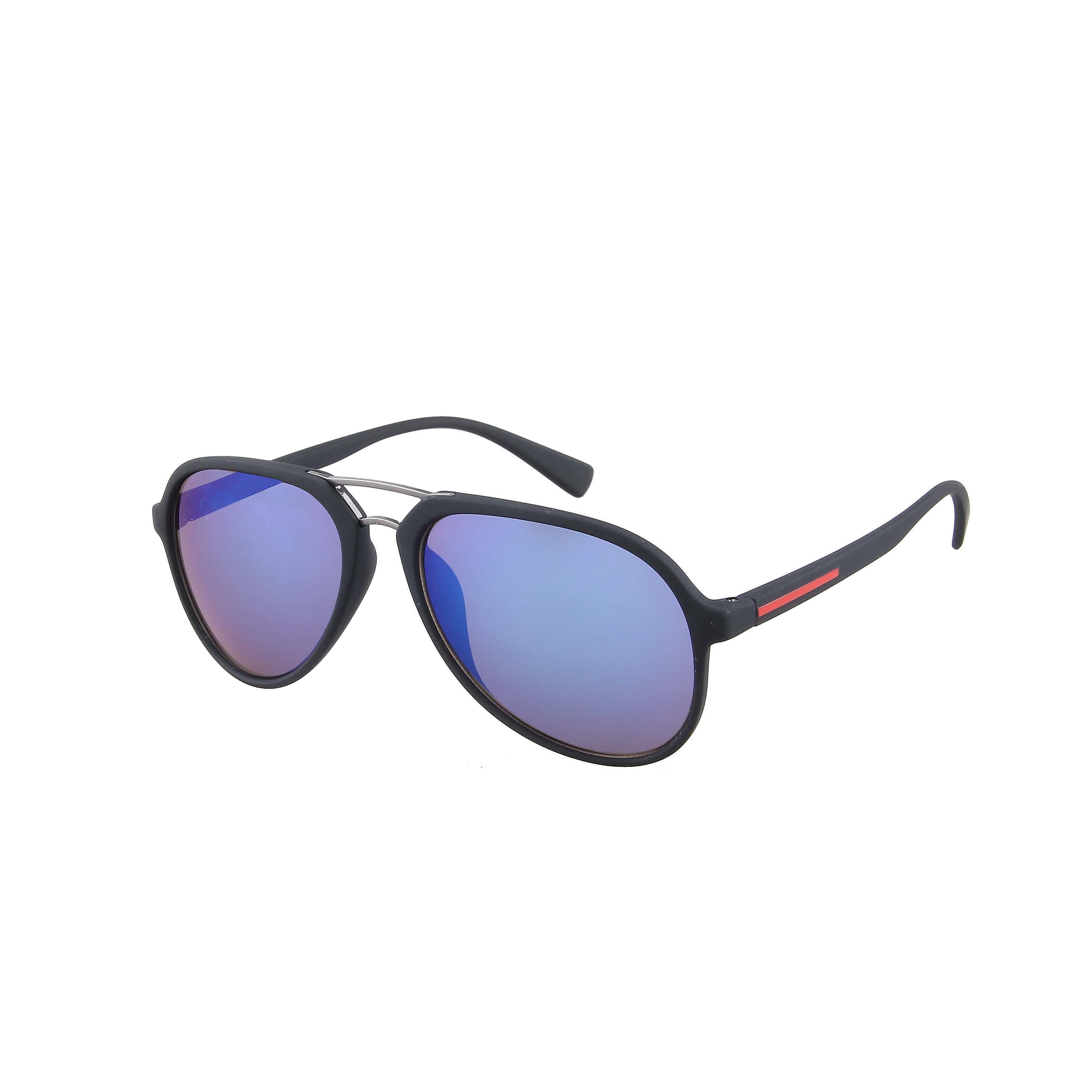 Aviator Matt Black Steel Deco 100% UV Blue Revo
