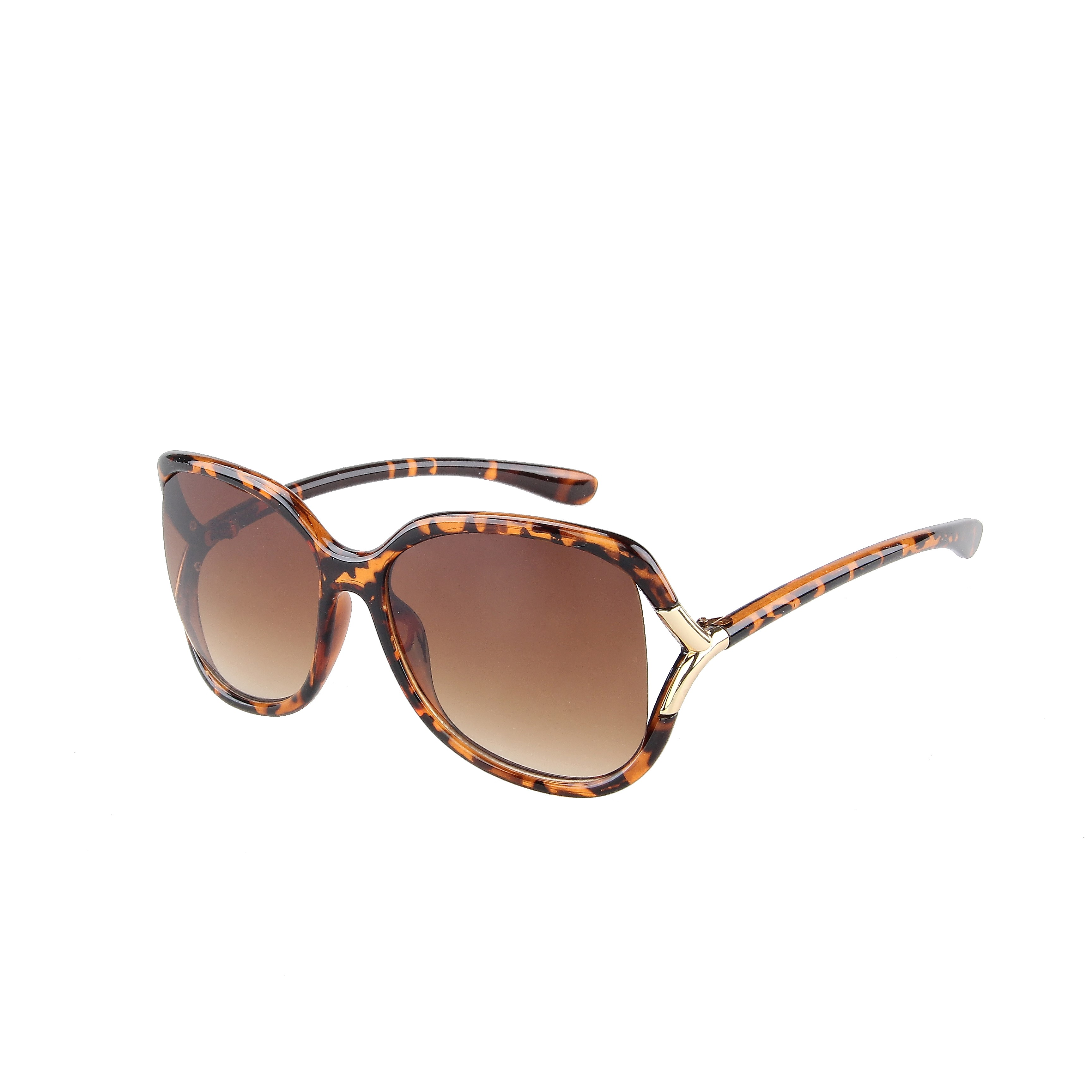 Fashion Oversized Tortoise Gold Deco 100% UV Brown Gradient