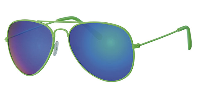 Pilotenbril Aviator Neon Green, 400UV Green Revo