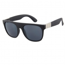 Wayfarer Black Matt Silver Deco 100% UV Smoke Solid