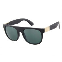 Wayfarer Black Matt Gold Deco 100% UV Light Green Solid