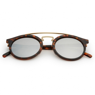 Round bridge sunglasses tortoise | silver mirror lenses